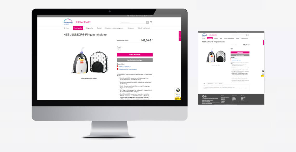 Online-Shop Löwenstein Medical Homecare Responsive Darstellung