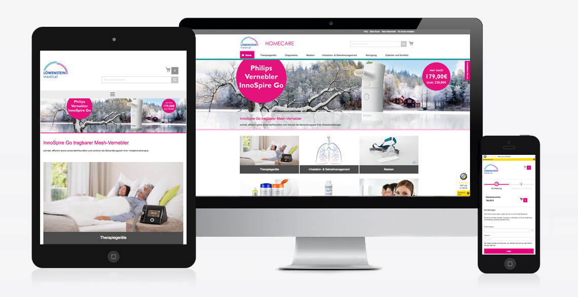 Online-Shop Löwenstein Medical Homecare Mobile Darstellung